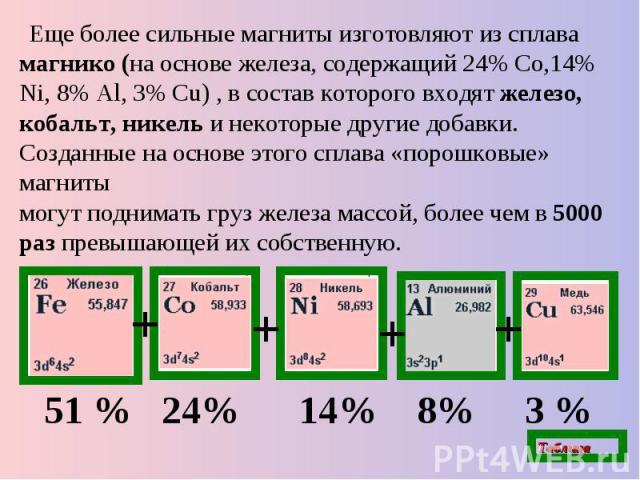 Еще более сильные магниты изготовляютиз сплава магнико (на основе железа, содержащий 24% Со,14% Ni, 8% Al, 3% Cu) ,в состав которого входят железо, кобальт, никель и некоторые другие добавки. Созданные на основе этого сплава «порошковые» магнитымо…
