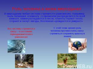 Роль человека в жизни мироздания В мироздании любая система стремится к равновес