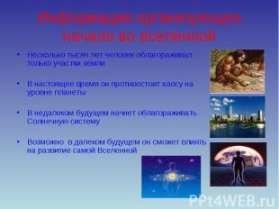 Информация организующее начало во вселенной Несколько тысяч лет человек облагора