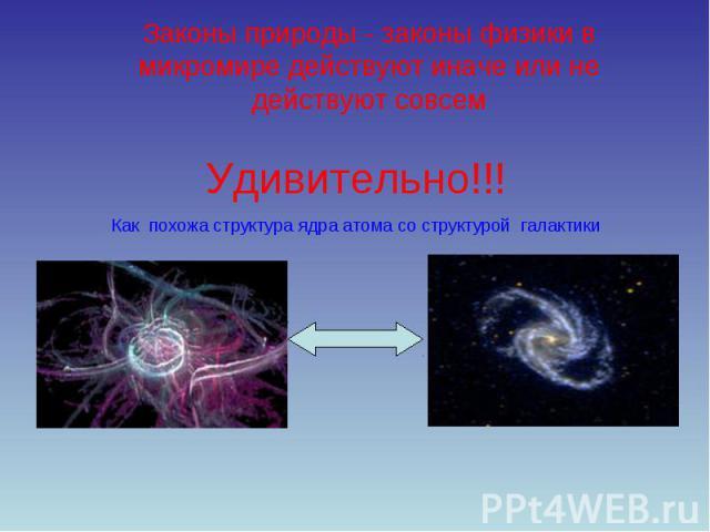 Законы природы - законы физики в микромире действуют иначе или не действуют совсем Удивительно!!! Как похожа структура ядра атома со структурой галактики