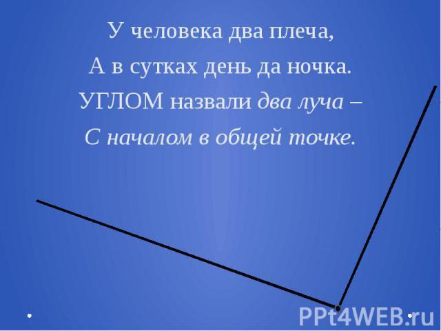 У человека два плеча,А в сутках день да ночка.УГЛОМ назвали два луча –С началом в общей точке.