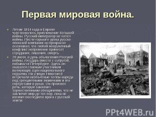Первая мировая война. Летом 1914 года в Европе чувствовалось приближение большой