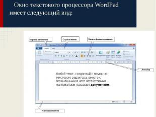 Окно текстового процессора WordPad имеет следующий вид: