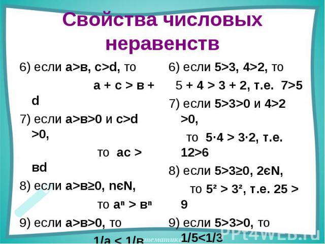 Свойства числовых неравенств 6) если а>в, с>d, то а + с > в + d7) если а>в>0 и с>d >0, то ас > вd 8) если а>в≥0, nєN, то аⁿ > вⁿ 9) если а>в>0, то 1/а < 1/в 6) если 5>3, 4>2, то 5 + 4 > 3 + 2, т.е. 7>57) если 5>3>0 и 4>2 >0, то 5·4 > 3·2, т.е. 12>68…