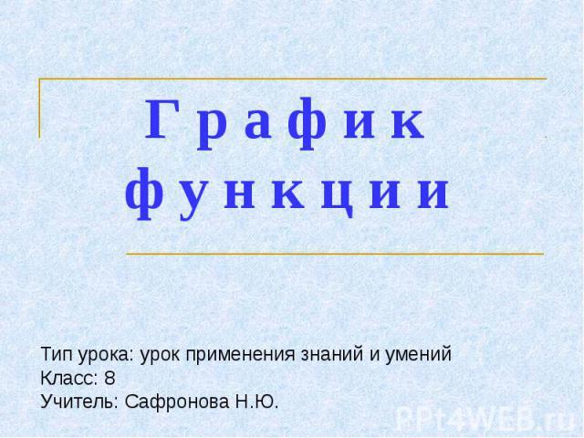 Графики функции Тип урока: урок применения знаний и уменийКласс: 8 Учитель: Сафронова Н.Ю.