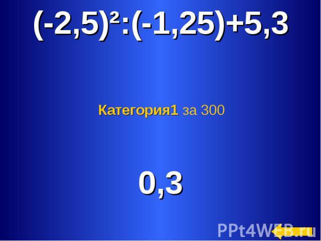 (-2,5)²:(-1,25)+5,3 Категория1 за 300 0,3