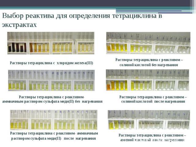 Выбор реактива для определения тетрациклина в экстрактах Растворы тетрациклина с хлоридом железа(III) Растворы тетрациклина с реактивом- аммиачным раствором сульфата меди(II) без нагревания Растворы тетрациклина с реактивом- аммиачным раствором суль…