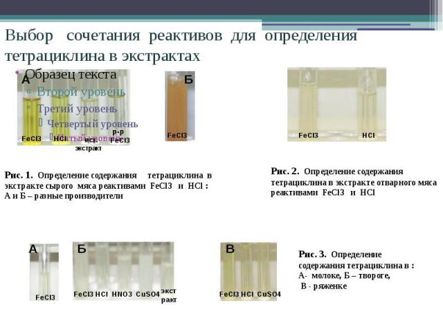 Выбор сочетания реактивов для определения тетрациклина в экстрактах Рис. 1. Определение содержания тетрациклина в экстракте сырого мяса реактивами FeCl3 и HCl :А и Б – разные производители Рис. 2. Определение содержания тетрациклина в экстракте отва…