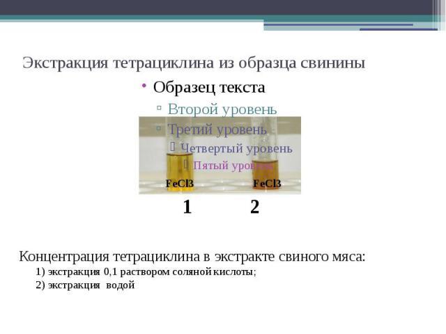 Экстракция тетрациклина из образца свинины Концентрация тетрациклина в экстракте свиного мяса: 1) экстракция 0,1 раствором соляной кислоты; 2) экстракция водой