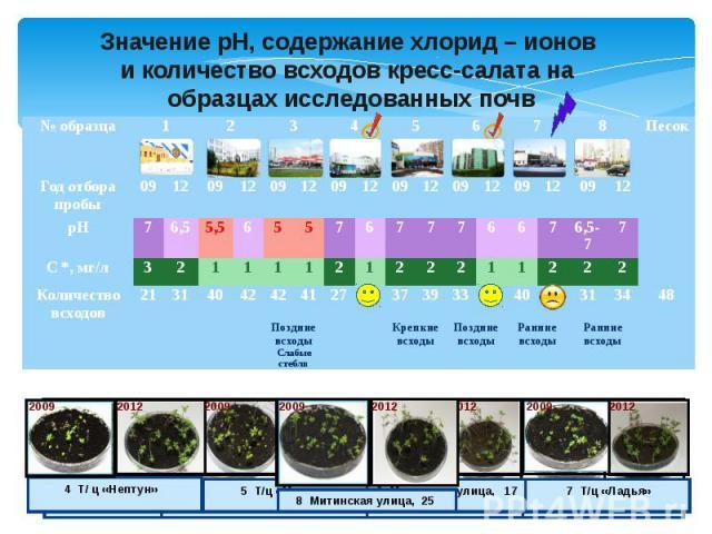 Значение рН, содержание хлорид – ионови количество всходов кресс-салата на образцах исследованных почв