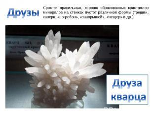 Друзы Сростки правильных, хорошо образованных кристаллов минералов на стенках пу