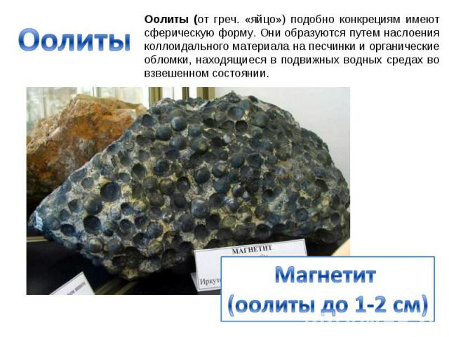 Оолиты Оолиты (от греч. «яйцо») подобно конкрециям имеют сферическую форму. Они образуются путем наслоения коллоидального материала на песчинки и органические обломки, находящиеся в подвижных водных средах во взвешенном состоянии. Магнетит (оолиты д…