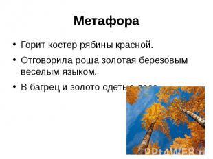 МетафораГорит костер рябины красной.Отговорила роща золотая березовым веселым яз