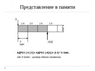 Представление в памяти АДРЕС ( A [ I] )= АДРЕС ( А[1] )+ (i-1) * X байт,где Х ба