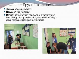 Трудовые формы Форма: уборка в классеПредмет: технологияМотив: привлечение учащи