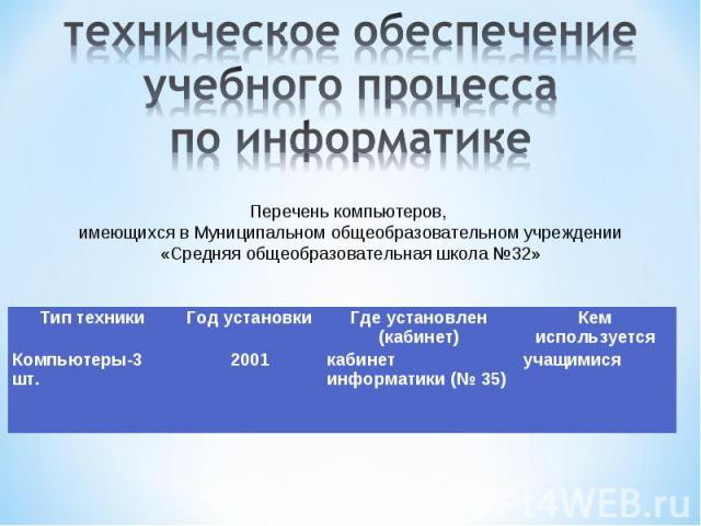 техническое обеспечение учебного процесса по информатике Перечень компьютеров, имеющихся в Муниципальном общеобразовательном учреждении«Средняя общеобразовательная школа №32»
