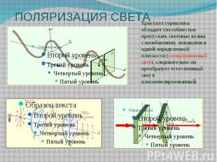 ПОЛЯРИЗАЦИЯ СВЕТА Кристалл турмалина обладает способностью пропускать световые в