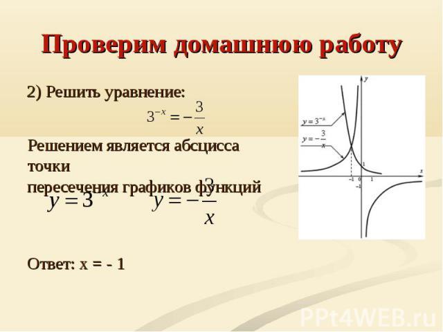 Проверим домашнюю работу 2) Решить уравнение: Решением является абсцисса точкипересечения графиков функций Ответ: x = - 1