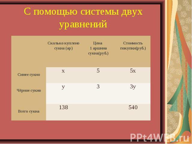 С помощью системы двух уравнений