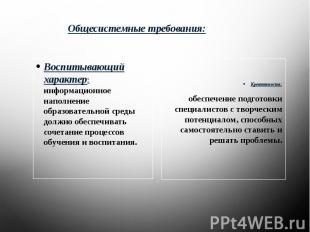 Общесистемные требования: Воспитывающий характер: информационное наполнение обра