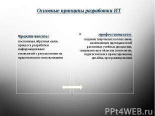 Основные принципы разработки ИТ практичность:постоянная обратная связь процесса