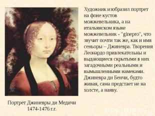 Художник изобразил портрет на фоне кустов можжевельника, а на итальянском языке