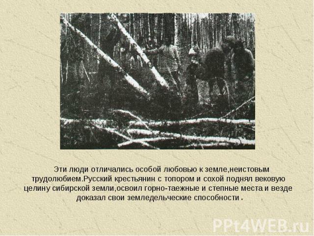 Эти люди отличались особой любовью к земле,неистовым трудолюбием.Русский крестьянин с топором и сохой поднял вековую целину сибирской земли,освоил горно-таежные и степные места и везде доказал свои земледельческие способности