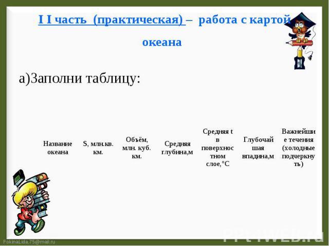 I I часть (практическая) – работа с картой океана а)Заполни таблицу: