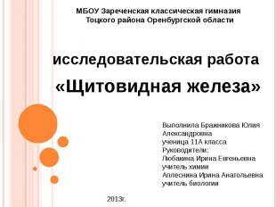 МБОУ Зареченская классическая гимназия Тоцкого района Оренбургской области иссле