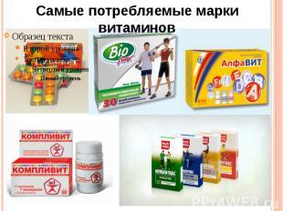 Самые потребляемые марки витаминов