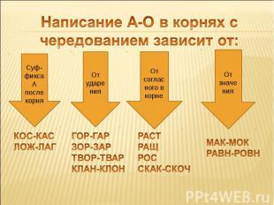 Написание А-О в корнях с чередованием зависит от: Суф-фикса А после корня КОС-КА