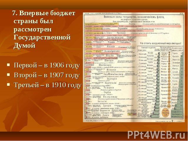 7. Впервые бюджет страны был рассмотрен Государственной ДумойПервой – в 1906 году Второй – в 1907 году Третьей – в 1910 году