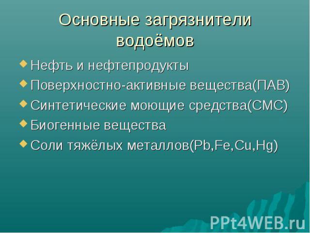 Основные загрязнители водоёмов Нефть и нефтепродуктыПоверхностно-активные вещества(ПАВ)Синтетические моющие средства(СМС)Биогенные веществаСоли тяжёлых металлов(Pb,Fe,Cu,Hg)
