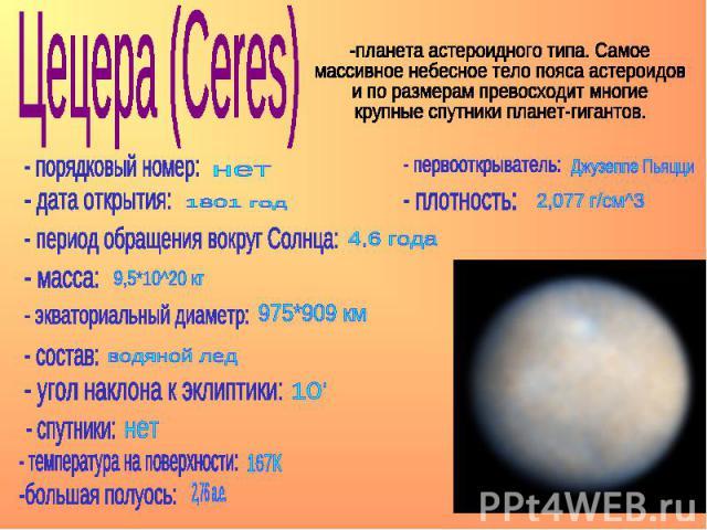 Цецера (Ceres) -планета астероидного типа. Самое массивное небесное тело пояса астероидов и по размерам превосходит многие крупные спутники планет-гигантов.