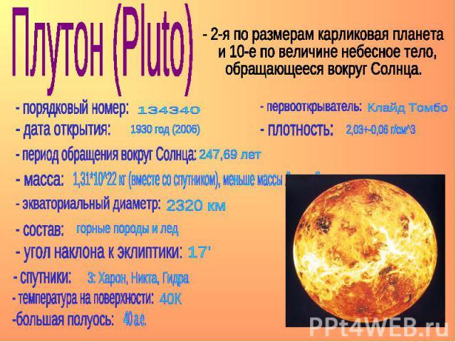 Плутон (Pluto) - 2-я по размерам карликовая планета и 10-е по величине небесное тело, обращающееся вокруг Солнца.