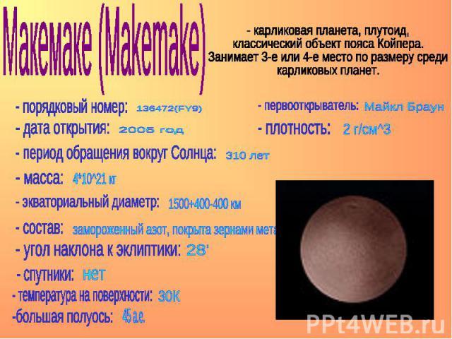 Макемаке (Makemake) - карликовая планета, плутоид, классический объект пояса Койпера. Занимает 3-е или 4-е место по размеру среди карликовых планет.