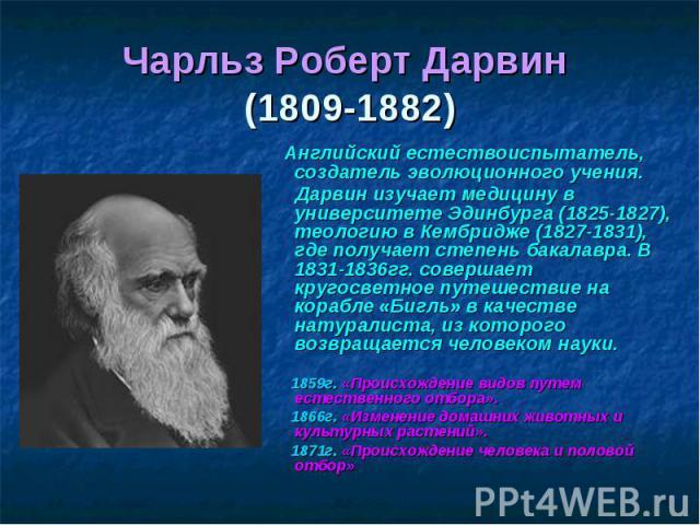 Чарльз Роберт Дарвин (1809-1882) Английский естествоиспытатель, создатель эволюционного учения. Дарвин изучает медицину в университете Эдинбурга (1825-1827), теологию в Кембридже (1827-1831), где получает степень бакалавра. В 1831-1836гг. совершает …