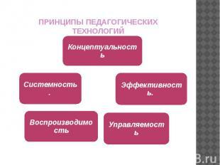 ПРИНЦИПЫ ПЕДАГОГИЧЕСКИХ ТЕХНОЛОГИЙ КонцептуальностьЭффективность. УправляемостьВ