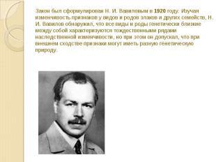 Закон был сформулирован Н. И. Вавиловым в 1920 году. Изучая изменчивость признак
