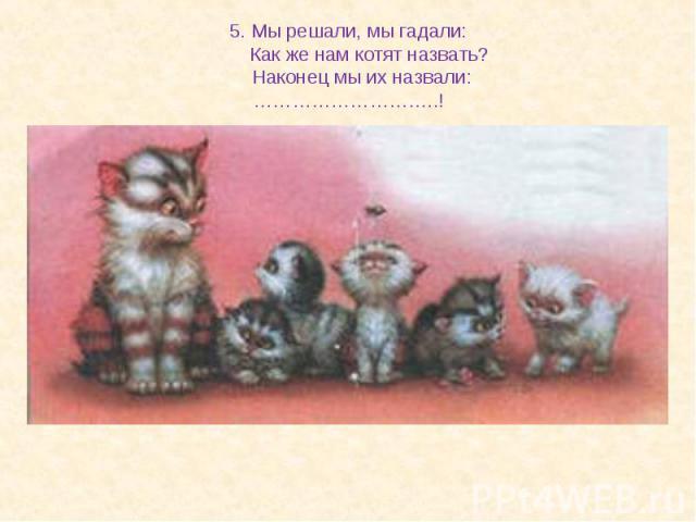 5. Мы решали, мы гадали: Как же нам котят назвать? Наконец мы их назвали:………………………..!