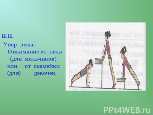 И.П. Упор лежа. Отжимание от пола (для мальчиков) или от скамейки (для) девочек.