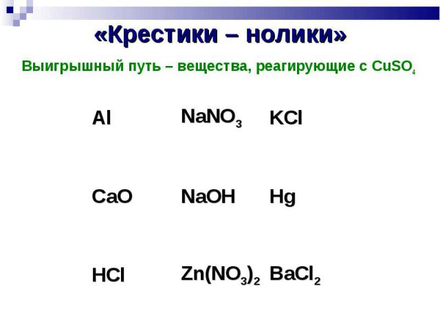 «Крестики – нолики» Выигрышный путь – вещества, реагирующие с CuSO4