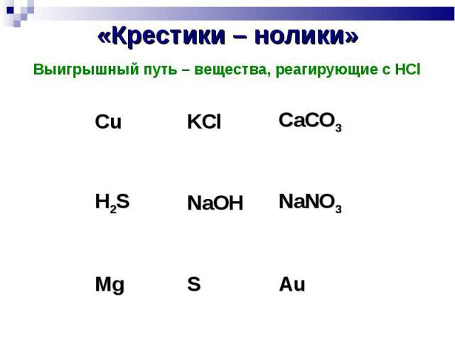 «Крестики – нолики» Выигрышный путь – вещества, реагирующие с HCl