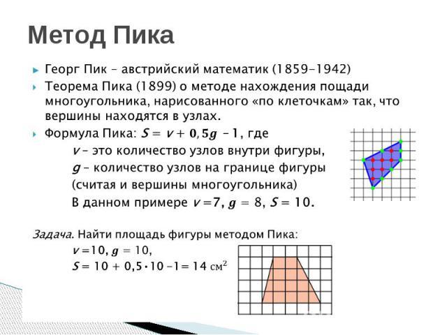 Метод Пика Георг Пик – австрийский математик (1859-1942)Теорема Пика (1899) о методе нахождения пощади многоугольника, нарисованного «по клеточкам» так, что вершины находятся в узлах.Формула Пика: S = v +