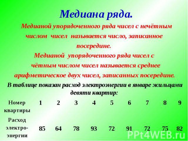 Медиана ряда. Медианой упорядоченного ряда чисел с нечётным числом чисел называется число, записанное посередине. Медианой упорядоченного ряда чисел с чётным числом чисел называется среднее арифметическое двух чисел, записанных посередине. В таблице…