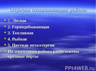 Отрасли специализации района 1. Лесная2. Горнодобывающая3. Топливная4. Рыбная5.