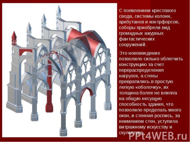 C появлением крестового свода, системы колонн, аркбутанов и контрфорсов, соборы приобрели вид громадных ажурных фантастических сооружений.Это нововведение позволило сильно облегчить конструкцию за счет перераспределения нагрузок, а стены превратилис…