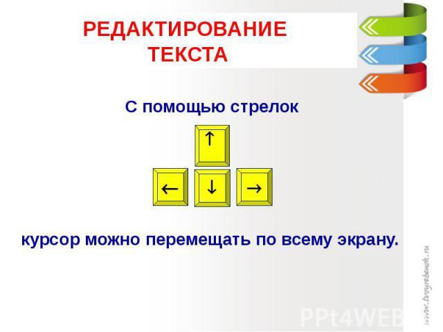 РЕДАКТИРОВАНИЕ ТЕКСТА С помощью стрелок курсор можно перемещать по всему экрану.