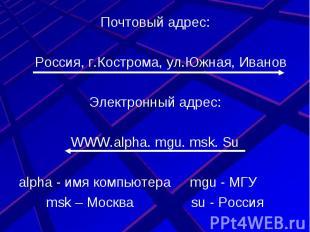 Почтовый адрес:Россия, г.Кострома, ул.Южная, ИвановЭлектронный адрес:WWW.alpha.