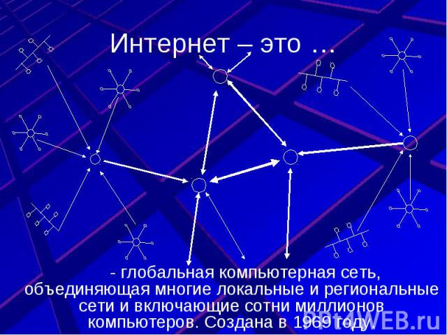 Интернет – это … - глобальная компьютерная сеть, объединяющая многие локальные и региональные сети и включающие сотни миллионов компьютеров. Создана в 1969 году.